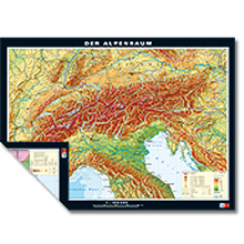 Duo-Karte Alpenländer, physisch/politisch