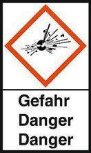 """GHS-Warnetiketten """"Explodierende Bombe – Gefahr"""""""