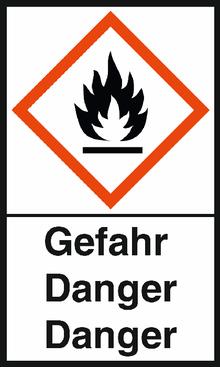 """GHS-Warnetiketten """"Flamme – Gefahr"""""""