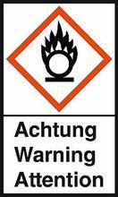 GHS-Warnetiketten: Flamme über Kreis - Achtung