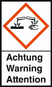 """GHS-Warnetiketten """"Verätzung – Achtung"""""""
