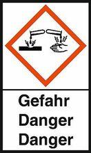 """GHS-Warnetiketten """"Verätzung – Gefahr"""""""