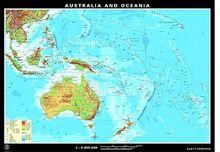Karte Australien und Ozeanien, physisch